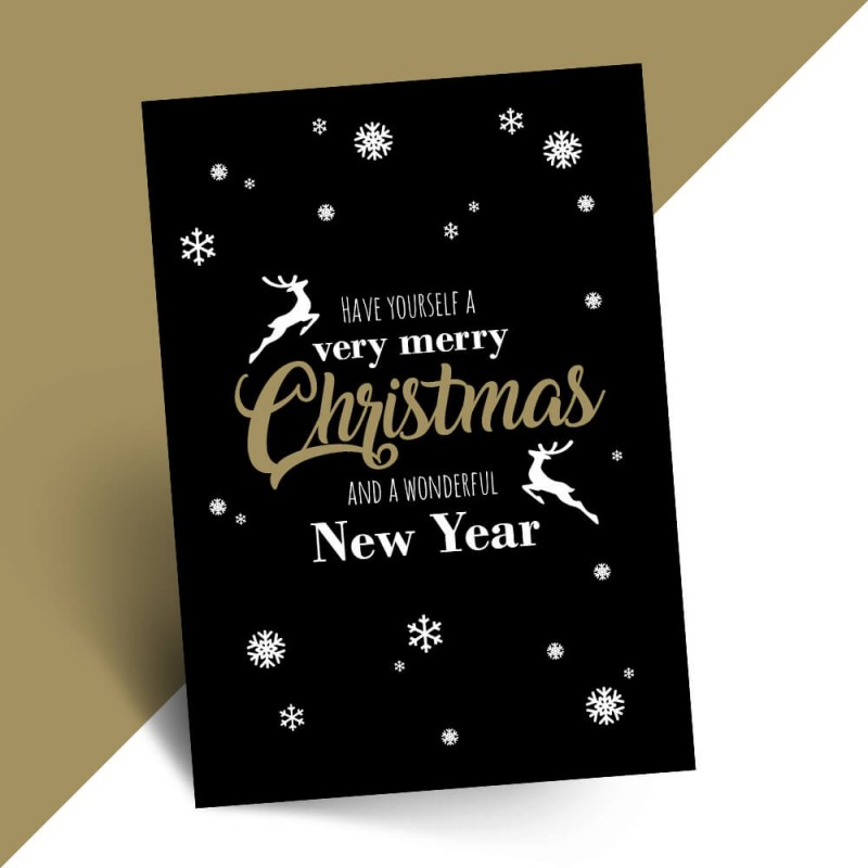 Stijlvolle kerstkaart very merry Christmas