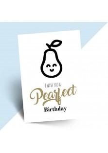 """Verjaardagskaart """"pearfect birthday"""""""
