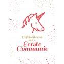 Communiekaartje eerste communie eenhoorn