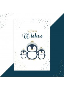 Kerstkaart warm wishes pinguin