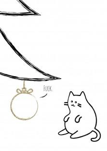 """Kerstkaart """"Cat"""""""