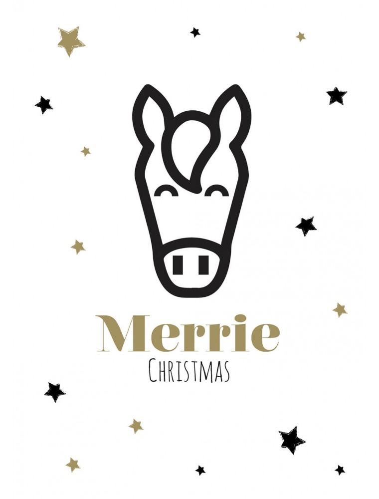 """Kerstkaart """"Merrie Christmas"""""""