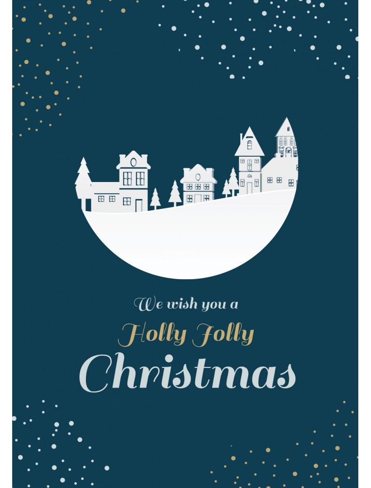 Kerstkaart holly jolly christmas
