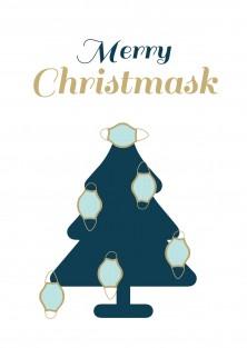 Merry Christmask grappige corona kerstkaart
