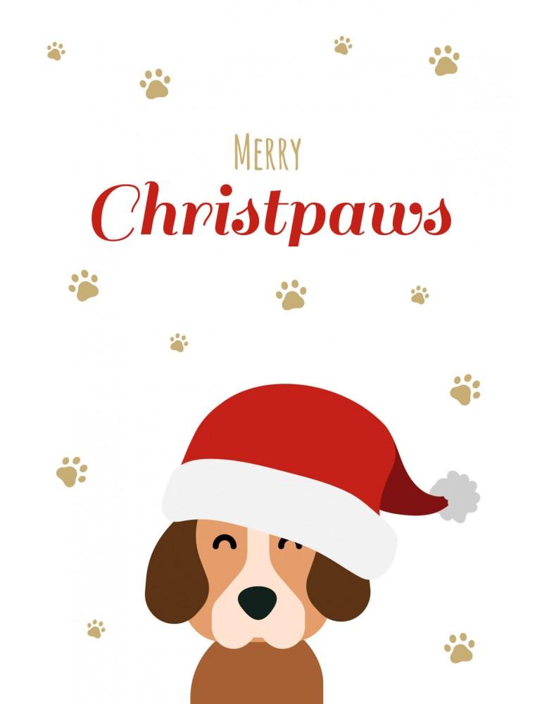 Kerstkaart hond - Merry Christpaws