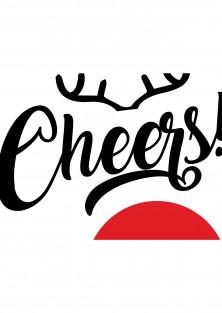 Kerstkaart rudolf cheers