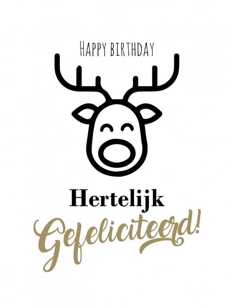 """Verjaardagskaart """"Hertelijk gefeliciteerd"""""""