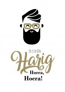 Verjaardagskaart hipster baard