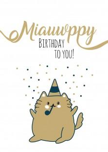 Verjaardagskaart kat miauwppy birthday