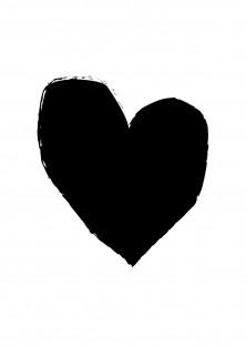 Wenskaart met hart - zwart