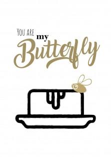 """Wenskaart liefde """"You are my butterfly"""""""