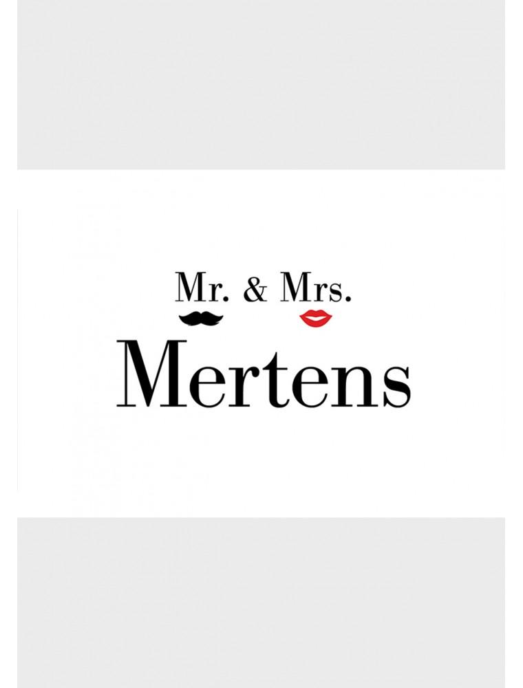 """Persoonlijke trouwkaart """"Mr and Mrs"""""""