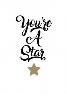 """Bedankingskaart """"You're A Star"""""""