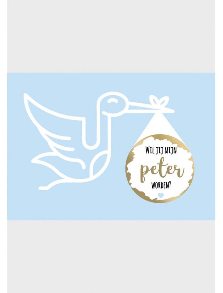 """Peter vragen kraskaart """"ooievaar"""""""