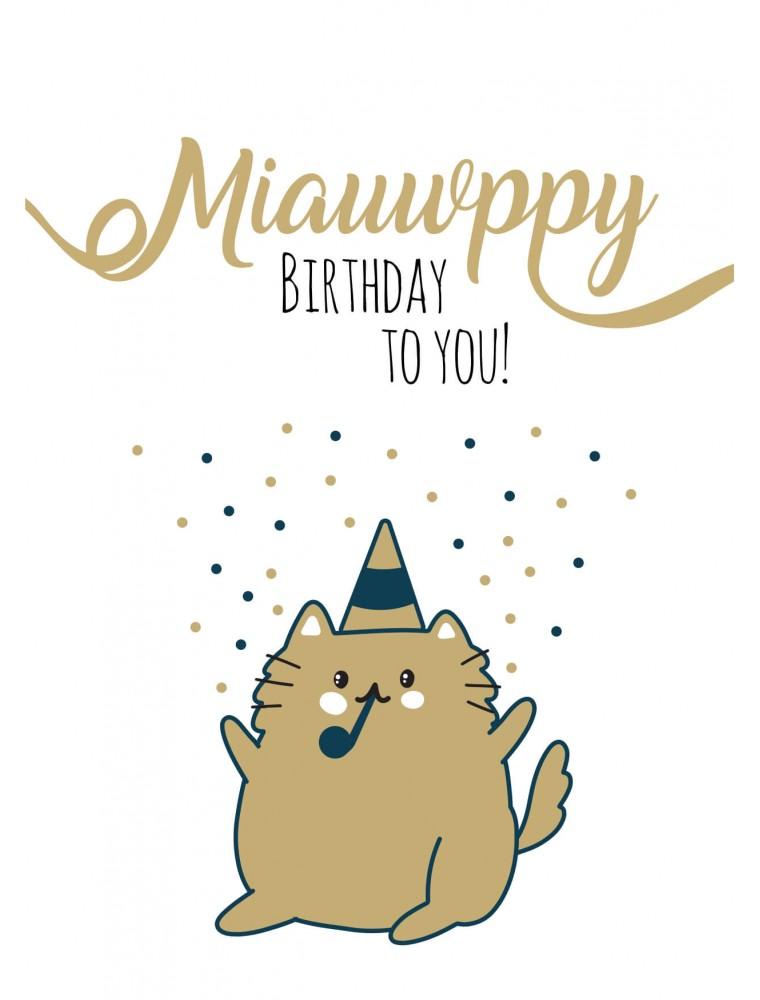 Pakket van 10: Verjaardagskaart kat miauwppy birthday