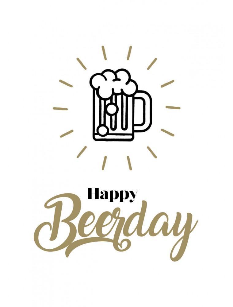 """Pakket van 10: Verjaardagskaart """"Happy Beerday"""""""