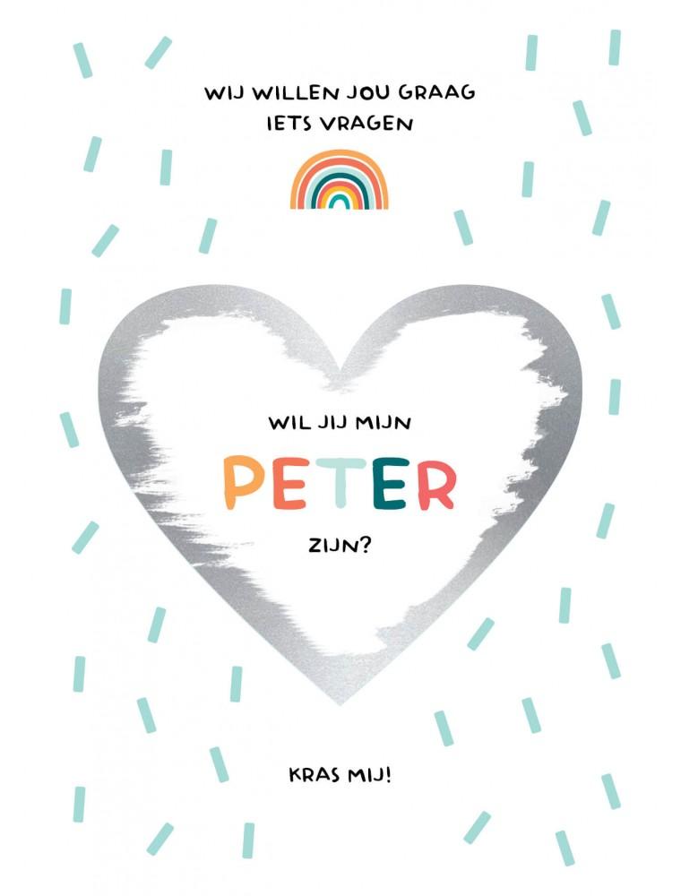 Origineel peter vragen kraskaart met regenboog