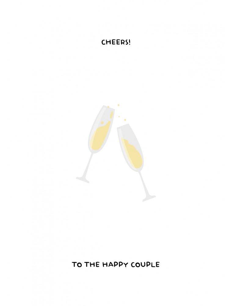Cheers to the happy couple - trouwkaart
