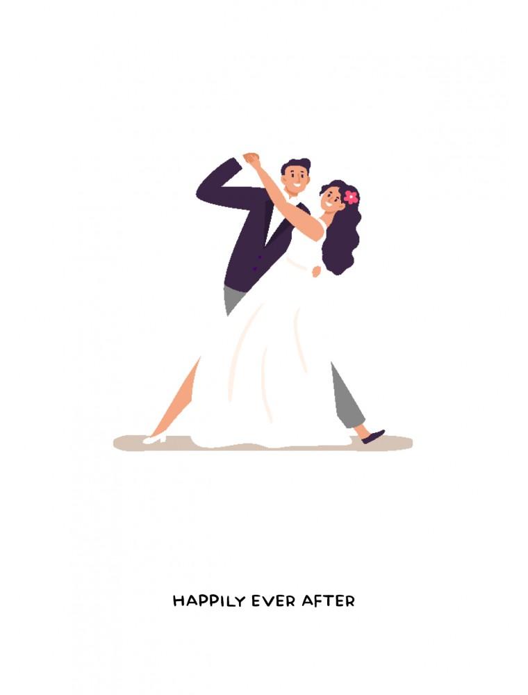 Trouwen wenskaart - Happily ever after