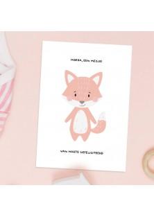 Hoera een meisje - kaartje voor geboorte