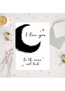 "Wenskaart ""Moon And Back"""