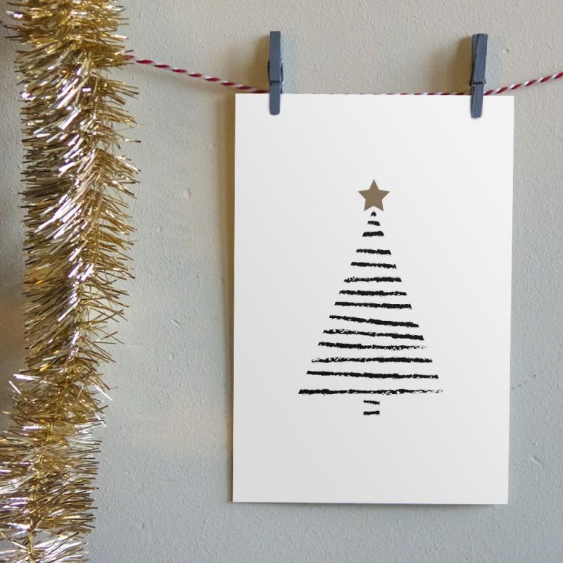"""Kerstkaart """"Zebra Kerstboom"""""""