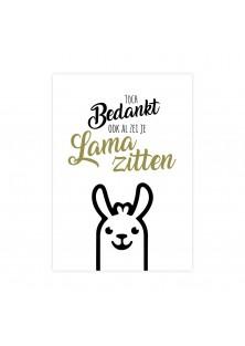 """Bedankingskaart """"Lama Zitten"""""""