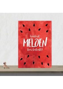 """Bedankingskaart """"Honderd Meloen"""""""