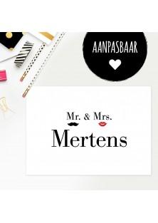"""Persoonlijke trouwkaart """"Mr & Mrs"""""""